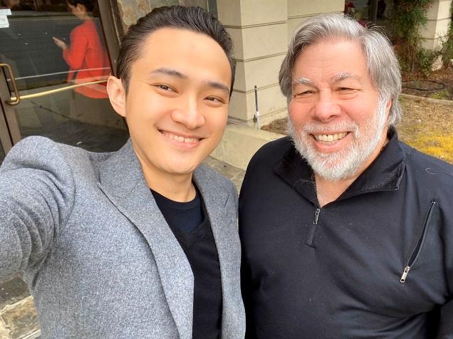 CEO Tron Джастин Сан отобедал с сооснователем Apple Стивом Возняком